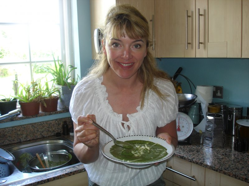 Liz eating Barbara\'s nettle soup